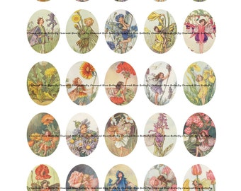 Instant Download Flower Fairies 30x40mm Ovals - Digital Collage Sheet