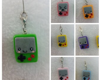 Kawaii old school gameboy charm made out of polymer clay