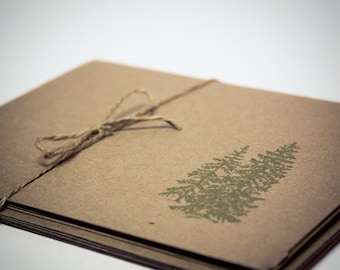 Blank Cards Pine Tree Folded Simple Masculine Set of 5 kraft paper green hand stamped teacher gift cards with envelope