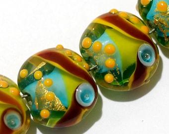 Four Amazon Parrot Lentil Beads 11007112 - Handmade Glass Lampwork Bead Set