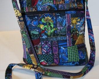 Beauty and the Beast Licensed Fabric Crossbody Bag with Zipper Cross Body Bag - Purse - Handbag - Belle Disney Princess