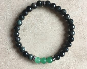 Green Aventurine and Rainbow obsidian bracelet/Stretch Bracelet/Genuine Stone Bracelet/Christmas Bracelet/Gift Ideas/Yoga Bracelet/Reiki