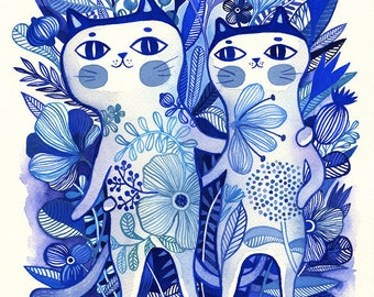 Together... - limited edition giclee print of an original watercolor illustration (8 x 10 in)