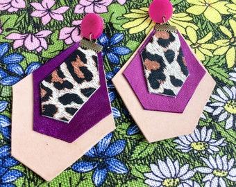 Leopard print leather earrings, ultraviolet leather earrings
