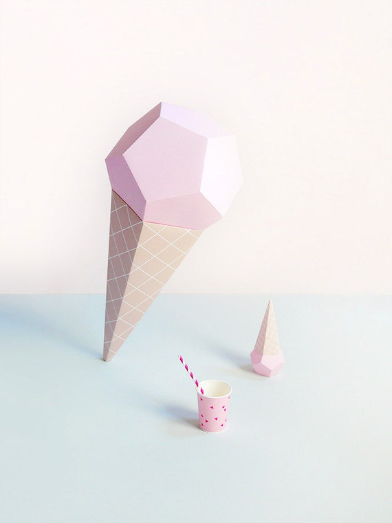Giant Ice Cream Paper Sculpture Kit Strawberry 3D