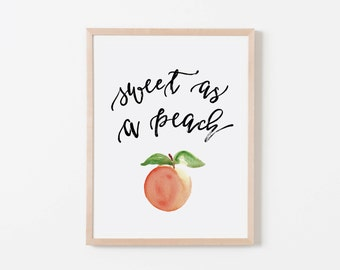 Sweet As A Peach Nursery Art. Nursery Wall Art. Nursery Prints. Girl Wall Art. Peach Wall Art. Fruit Wall Art.