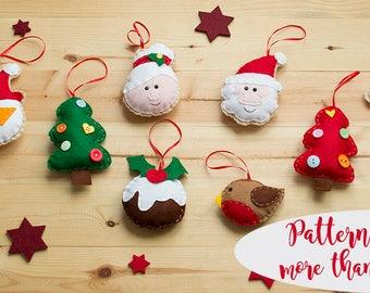 Felt Christmas ornaments, sewing pattern BUNDLE 60% OFF