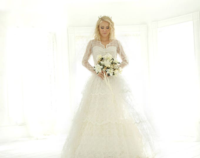 Vintage 1950s illusion lace wedding dress, long sleeves, white chevron tulle S