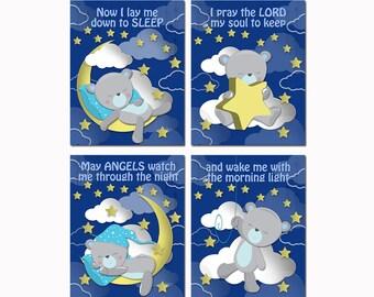 Baby boy nursery wall art newborn room decor navy blue teddy bear poster Now I lay me down to sleep bedtime prayer  christening baptism gift