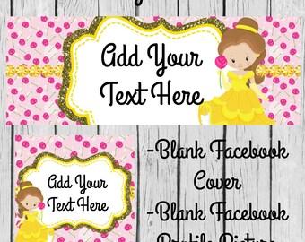 Instant Download-DIY Blank Facebook Business Set-Facebook Cover-Facebook Timeline Set-DIY Banner-Beauty & The Beast-Princess Belle-Belle
