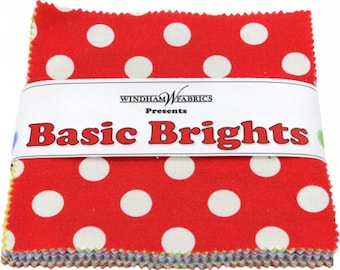 "Windham Basic Brights Charm Pack - (42) 5"" X 5"" Squares Cotton Quilt Fabric - Bright Basics - Windham Fabrics - CP5BB  (W1455)"