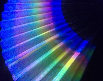 UV reactive pastel rainbow stripe fan