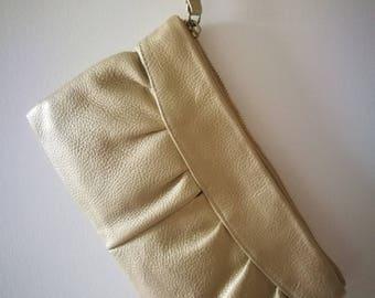 Vintage koppeling Metallic goud lederen schouderriem avond clutch tas