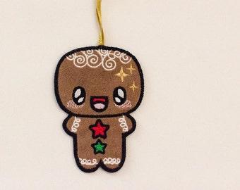 Kawaii Gingerbread Man Flat Ornament
