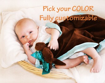 Brown Puppy Dog Security Blanket, Baby blanket Lovey Blanket, Satin, Baby Blanket, Stuffed Animal, Baby Toy - Customize Color Monogramming