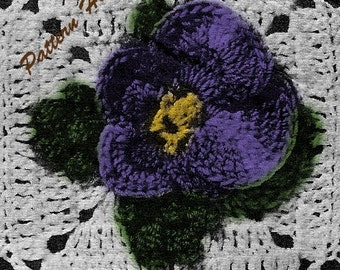Crocheted Pansy Patch Bedspread