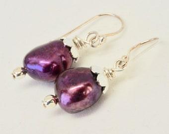 Plump Eggplant Freshwater Pearl Earrings, Stunning Burgundy Earrings, Violet Purple Jewelry, Berry Bridal Design, Anniversary Gift for Wife
