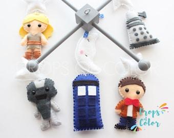 Baby Mobile, Dr Who Mobile, Time Machine Eleventh Doctor Crib Mobile, Tardis, Cybermen, Dalek, Science Fiction Geek Nursery Decor