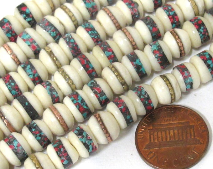 20 beads - 7 - 8 mm Tibetan ivory white color bone mala with turquoise brass copper coral inlay beads supply - ML083C