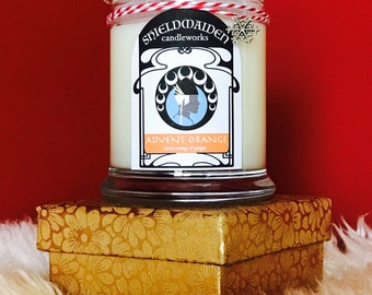 """Sweet orange ginger scent soy Christmas candle """"Advent Orange"""" 12oz Viking Natural Soy Container Candle Shieldmaiden Candleworks Yule Gift"""