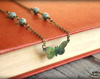 Verdigris Butterfly Necklace
