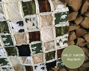 WILD YUKON Baby Rag Quilt - Exclusively from OCKBaby - Bear Baby Bedding, Rustic Baby Bedding, Bear Nursery, Bear Crib Bedding, Bear Quilt