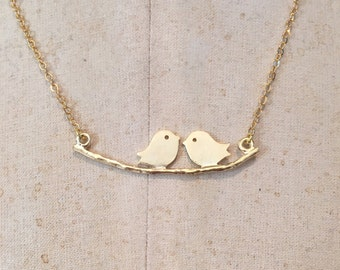 Bird Necklace, love bird necklace, love bird jewellery, gold birds on a branch necklace, gold love birds, gifts for her, delicate jewellery