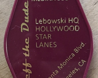 """BIG LEBOWSKI """"Jeff the dude"""" inspired keytag in Purple & Gold or White"""