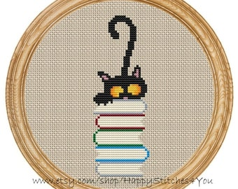 Cross Stitch Pattern PDF cat and books DD0071