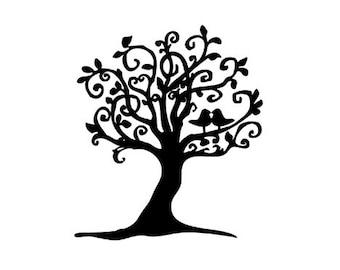 Wunderliche Liebesvögel im Baum Stempel Turteltauben