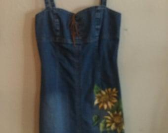 Handpainted vintage denim dress
