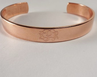 Custom Engraved Monogram Bracelet Personalized Copper Cuff Style Name Initial or Monogram - Hand Engraved