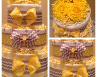 Gender Neutral Diaper  Cake ..Yellow and Grey Chevron Gift .. Baby Shower Centerpiece