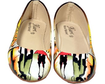 Hand Painted Genuine Leather Ballerinas - Attraction