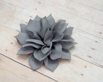 NEW Grey Mini Flower Hair Clip- Lotus Blossom - With or Without Rhinestone Center