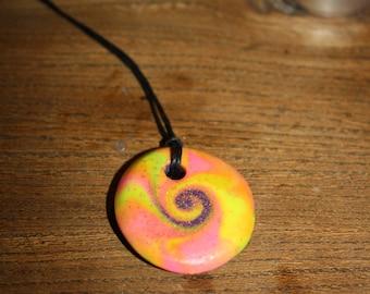 Neon Pink and Yellow Swirl pendant