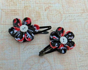 Black and Red kanzashi Flower Snap Clip