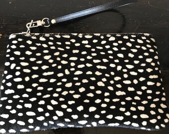 Black with white polkadot Pouch
