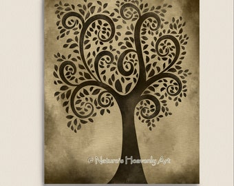 Whimsical Tree Print, Natural Wall Art, 8 x 10 Print, Earthy Brown Decor, Nature Art Print, Tree Art (98)