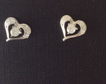 Hypo Allergenic Earrings Heart Shaped Studs withCZ,s