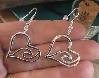 Heart with an Ocean Wave Earrings Hook Earrings Valentines