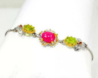 Ruby and Peridot bracelet sterling and gold bracelet