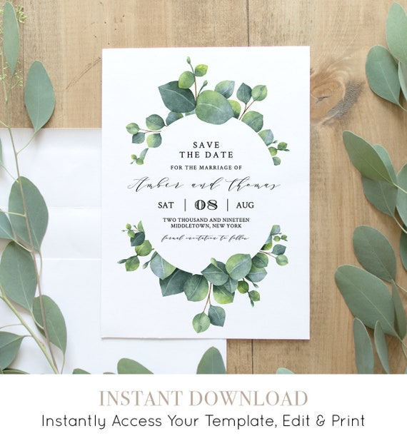 Eucalyptus Save the Date Template, INSTANT DOWNLOAD, 100% Editable, Printable Wedding Date Announcement, Greenery, Templett #036-113SD