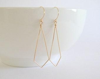 Kite/Diamond/Tie Geometric Earrings, Gold Filled or Sterling Silver