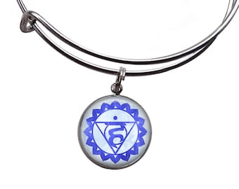 Throat Chakra Charm Bangle | Chakra Bracelet Boho Bracelet Chakra Jewelry Yoga Bracelet Meditation Bracelet Chakra Bangle Vishuddha Chakra