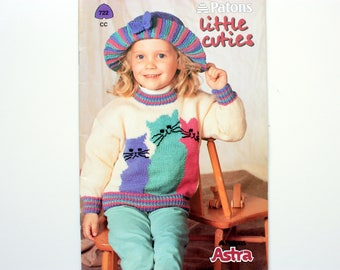 Patons 722 Children's Sweaters / cat sweater,  storybook cardigan, textured vest, kittens sweater etc