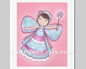 Fairy nursery art, nursery decor, baby girl room art, kids art, girl art print, girl wall art, bow art, brown, My Lovely Bow Fairy 8x10