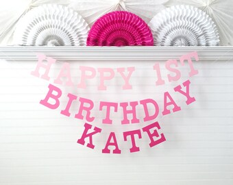 Custom Name Birthday Banner - 5 inch Tall Letters - First Birthday Banner 1st Birthday Pink Ombre Party Decor Kids Happy Birthday Age Sign