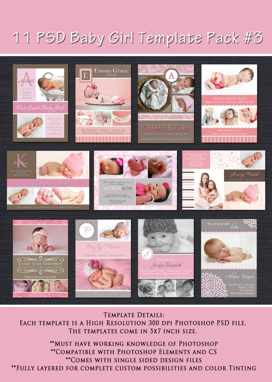 INSTANT DOWNLOAD Birth Announcement Vorlagen Baby Girl