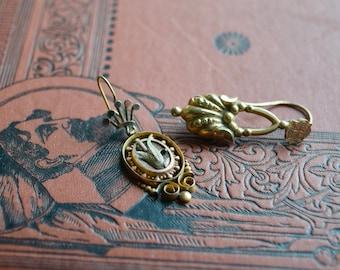 Antique Victorian Marriage OOAK Earrings, Gold Fill Dangle Earrings, OOAK Jewelry gift for her
